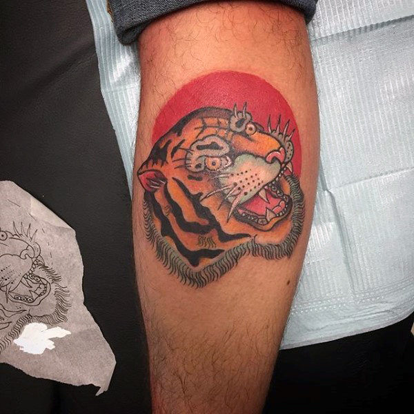 Red Sun Tiger Mens Traditional Small Leg Calf Tattoos