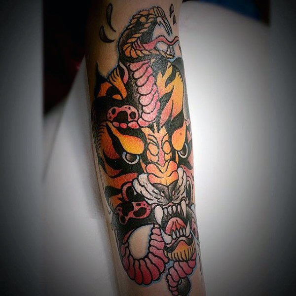 Snake And Angry Tiger Mens Traditional Forearm Tattoo Ideas