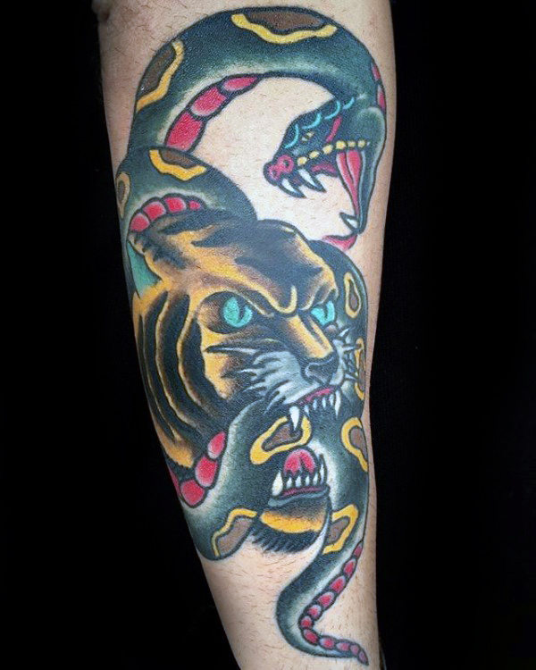 Snake With Tiger Mens Traditional Forearm Tattoo Ideas