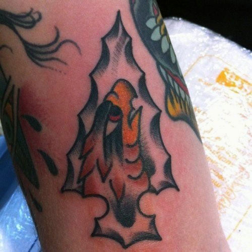 Eagle Inside Arrowhead Tattoos For Guys On Legs