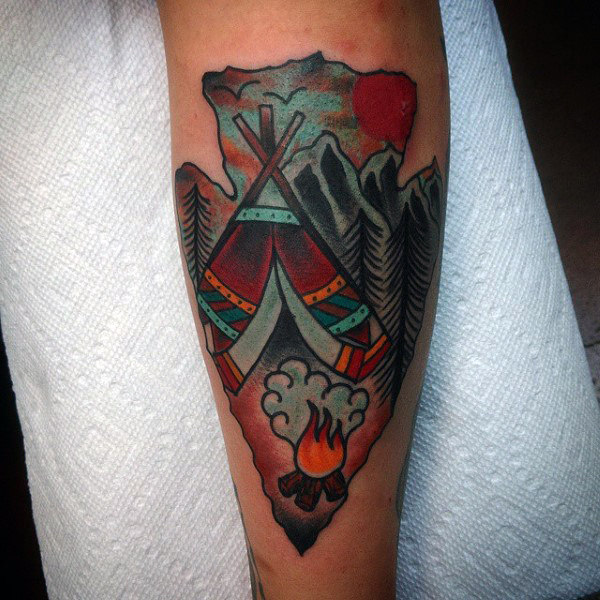 Amazing Guys Arrowhead Tattoo On Forearms