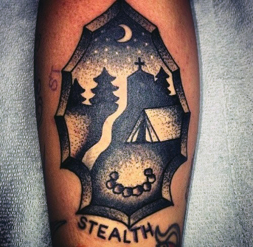 Beautiful Nightsky In Arrowhead Tattoo On Forearms Men