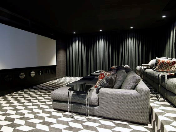 Contemporary Grey Media Room With Fabric Couch