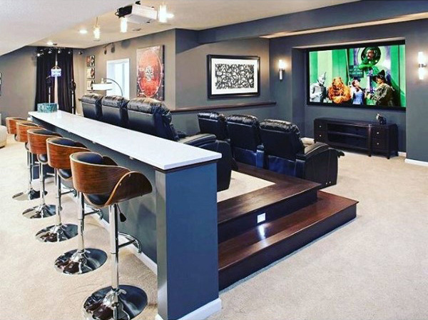 Cool Basement Home Theater With Attached Bar Seating Stools