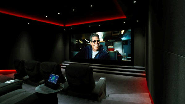 Cool Glowing Red Media Room Lighting With Black Lounge Chairs