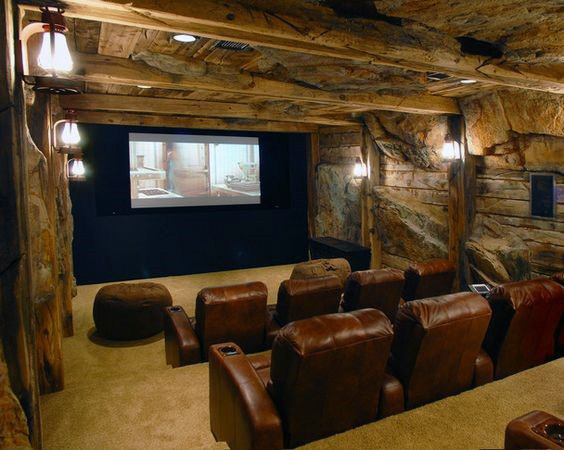 Cool Underground Home Theater Decor With Brown Leather Seating