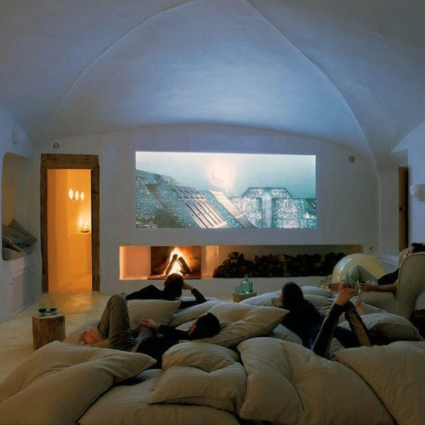 Cozy Casual Media Room With Pillows On The Floor