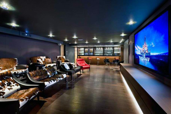 Creative Home Theater Room With Full Wet Bar In Basement