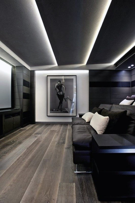 Grey And White Media Room Designs