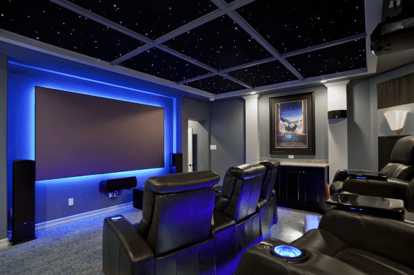 Custom Movie Room Design With Blue Screen Backlight