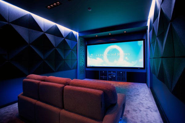 Incredible Home Theater With Soundproof Wall Panels