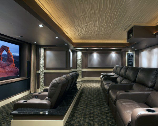 Beautiful Home Theater With Custom Decor