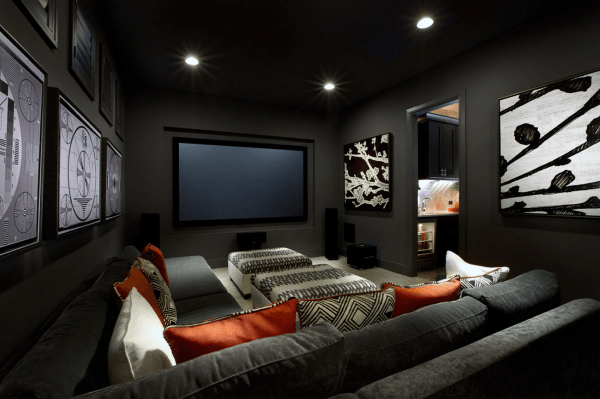Masculine Grey Painted Walls Home Theater Ideas