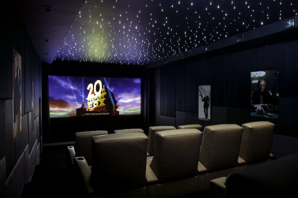 Star Lit Ceiling With Black Walls Movie Rooms