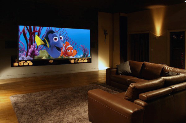 Traditional Home Basement With Home Theater