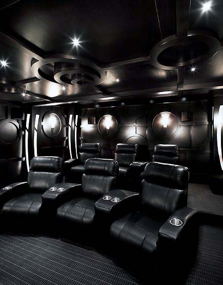 Black Color Themed Home Theater Designs