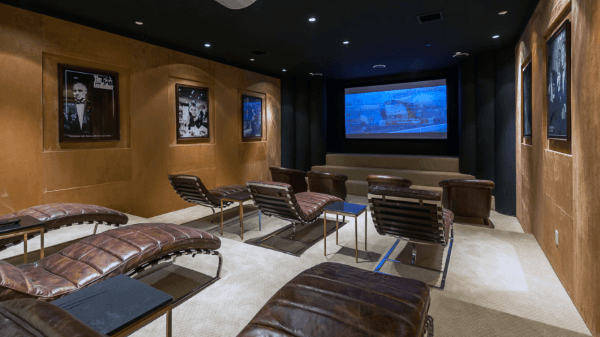 Modern Leather Lounge Chairs In Home Theater