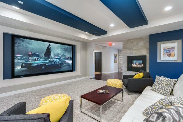 Blue And White Decorative Home Theater Media Room Ideas