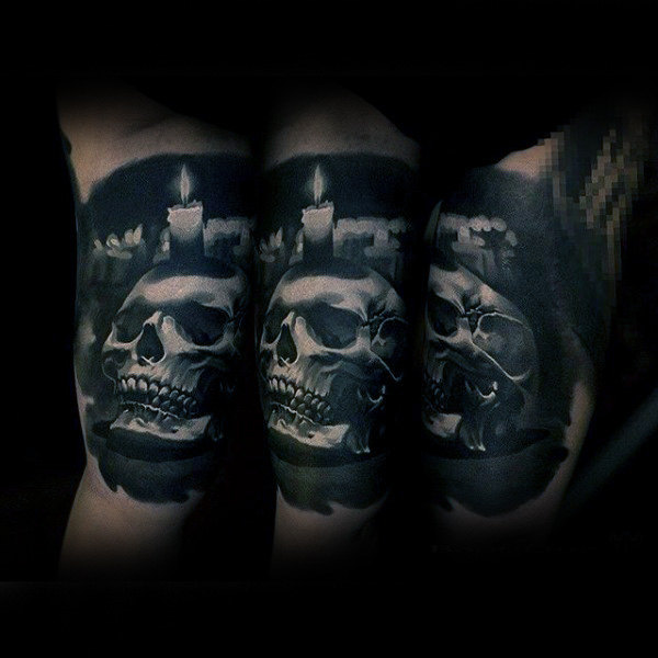Guys Forearms Skull With Candle Sick Tattoo