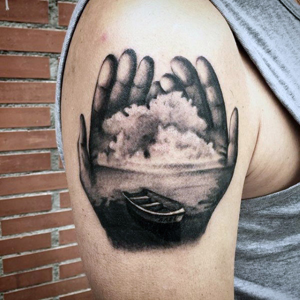 Male Arms Sick Hands With Boat Inside Tattoo