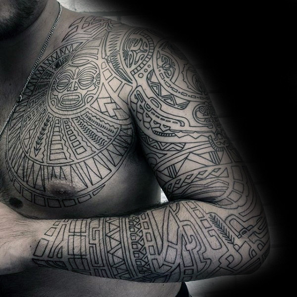 Male Chest And Arms Black Sick Tattoo