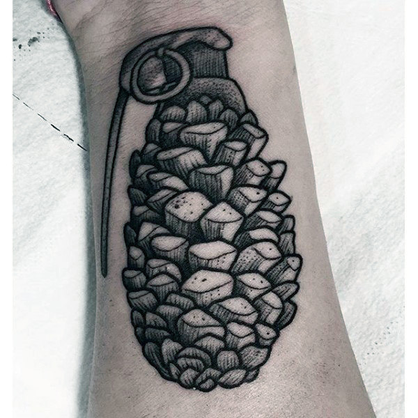 Male Forearms Sick Pineapple Jug Tatto