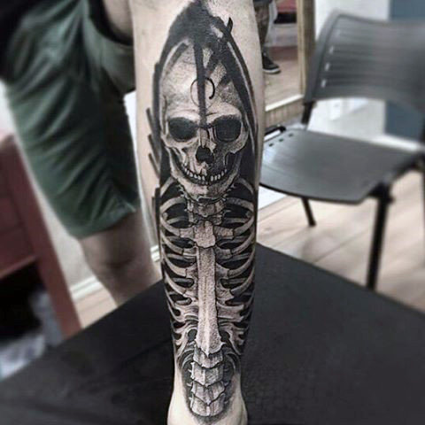 Male Forearms Sick Skull Tattoo