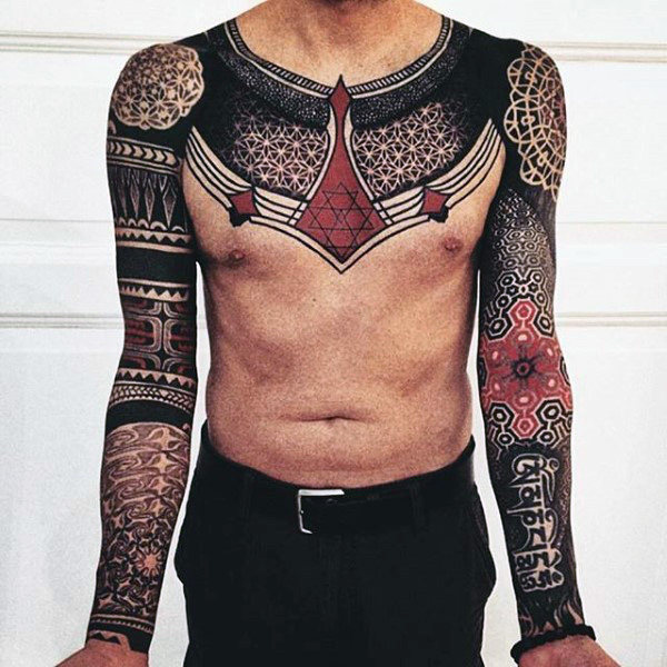 Male Sleeves Red And Black Sick Design Tattoo