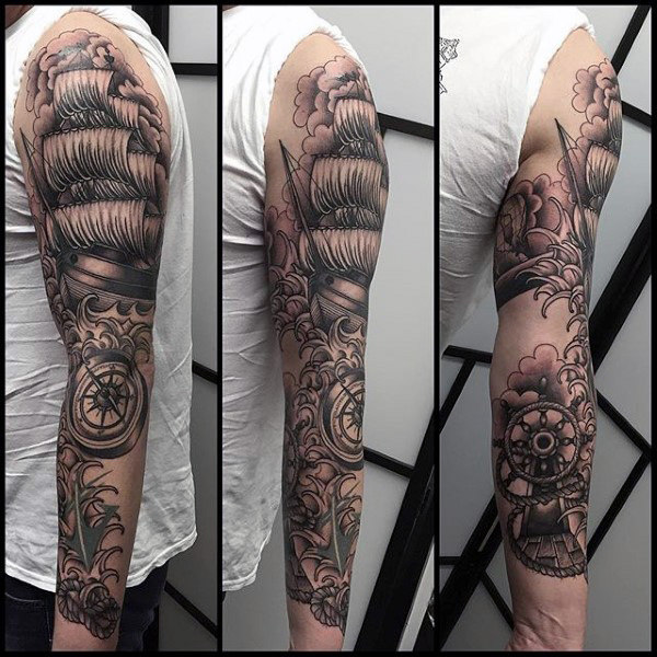 Mens Full Sleeves Sick Tattoo Of Ship And Anchor