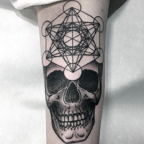 Mens Sick Skull And Geometrical Pattern Tattoo Forearms