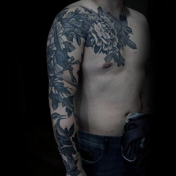 Sick Floral Tattoo Male Sleeves