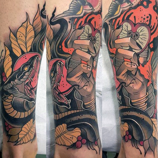 Sick Witch Holding Apple Tattoo Males Sleeve