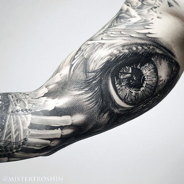 Guys Arms Sick Eye And Candles Tattoo