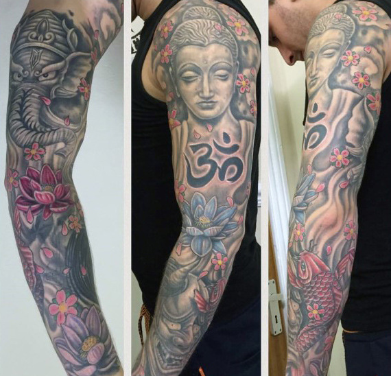 Mens Hinduismus Ärmel Tattoo mit Om Design in schwarzer Tinte