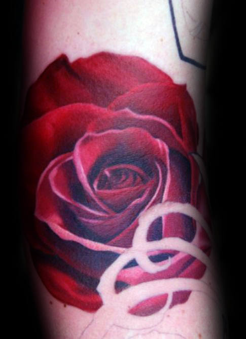 Cool Realistic Red Rose Male Flower Tattoo Ideas