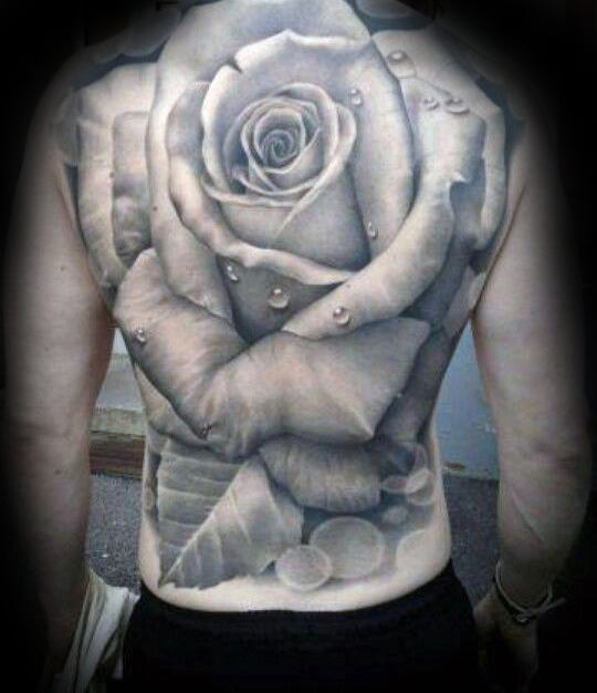 Full Back Mens Giant Realistic Rose Tattoos