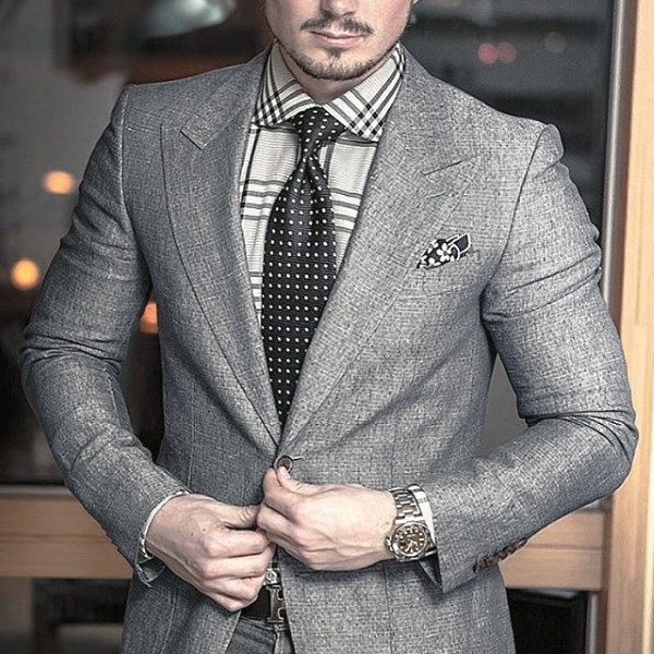 Cool Mens Trendy Outfits Style Inspiration traje gris con lunares Tie
