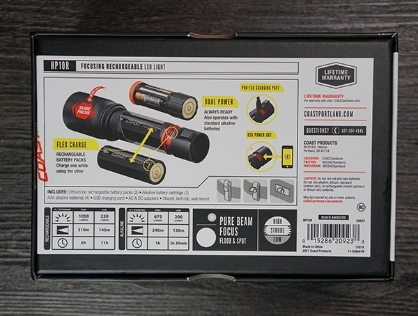 Coast Hp10r Back Of Factory Box Flashlight Features