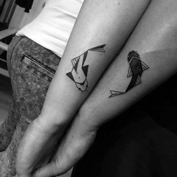 Badass Couples Tattoos Koi Fish Design