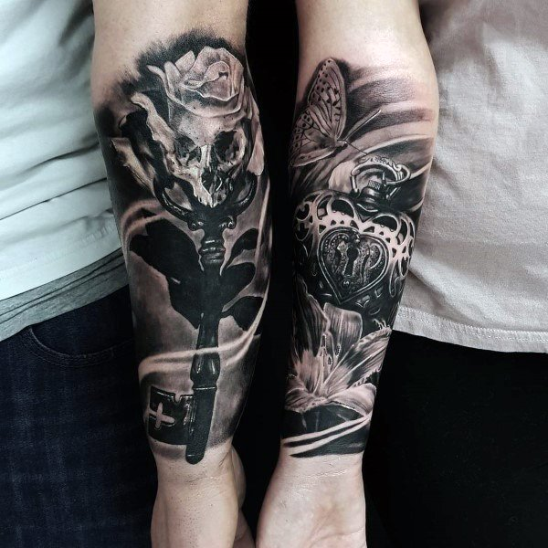 Best Tattoo Ideas For Couples Realistic 3d Key And Lock Forearm Sleeve