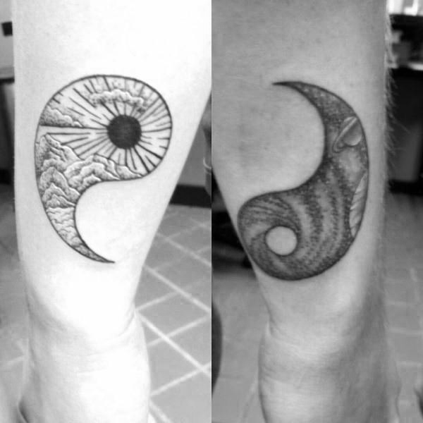 Connected Couple Tattoo Design Ideas Yin Yang
