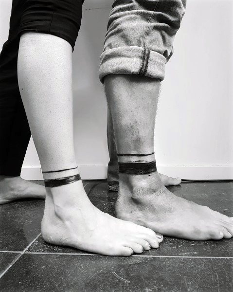 Cool Couples Tattoos Lower Leg Black Ink Leg Band Design