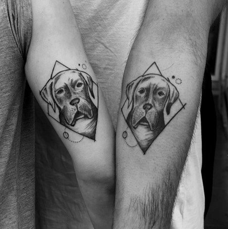 Cool Couple Tattoo With Dog Design