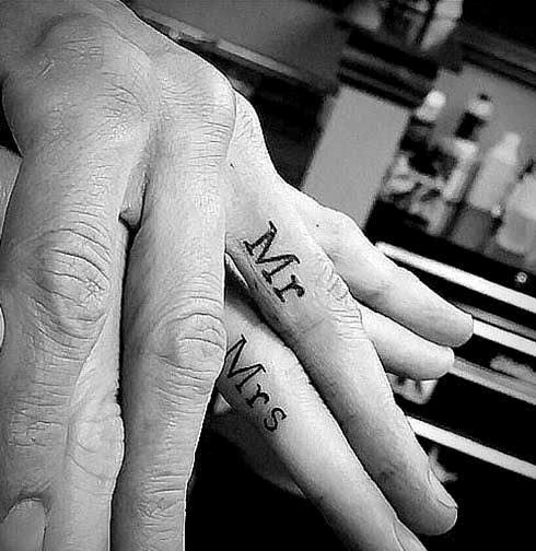 Fingers Mr Mrs Matching Couple Tattoo Ideas
