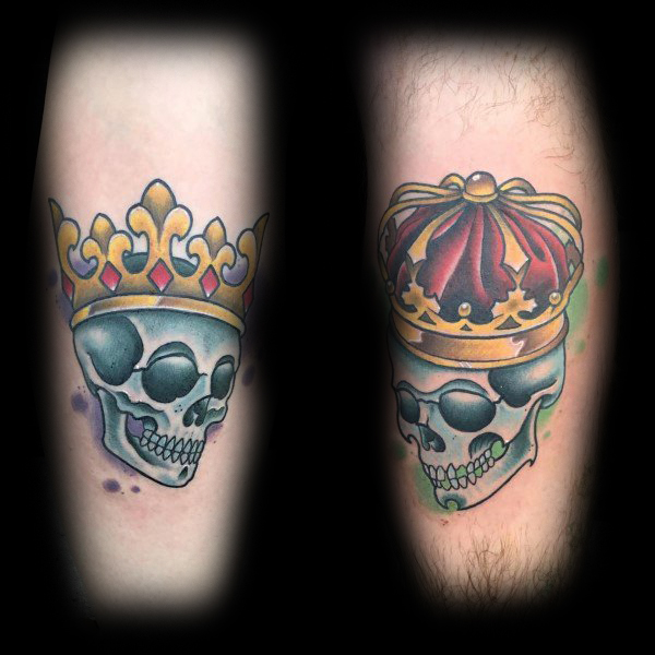 King And Queen Skulls Old School Matching Married Couple Tattoos