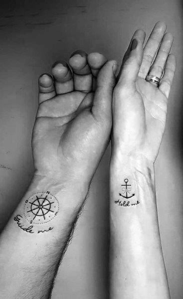 Anchor And Ship Wheel Couple Tattoo Matching Designs
