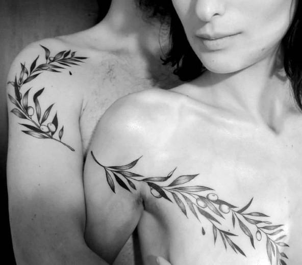 Olive Branch Arm And Chest Clever Couple Tattoos