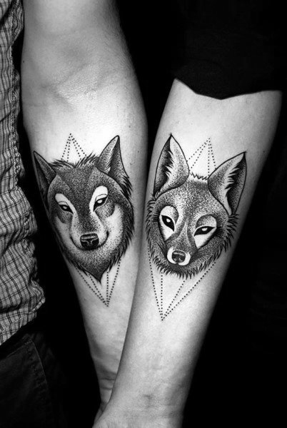 Wolf Geometric Couples Tattoos On Forearms