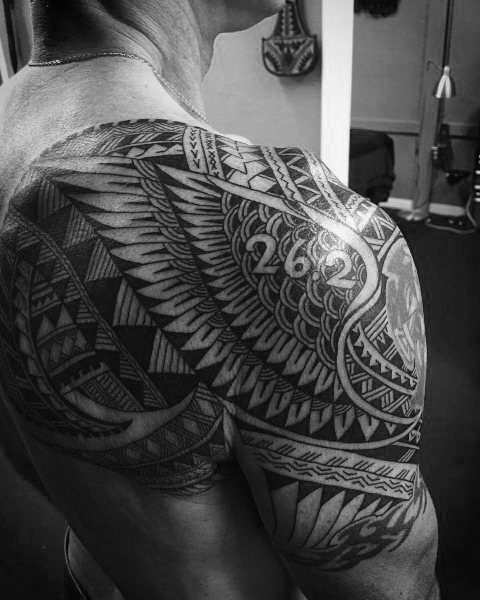 Tribal Negative Space Running 26 2 Miles Tattoo For Men On Shoulder