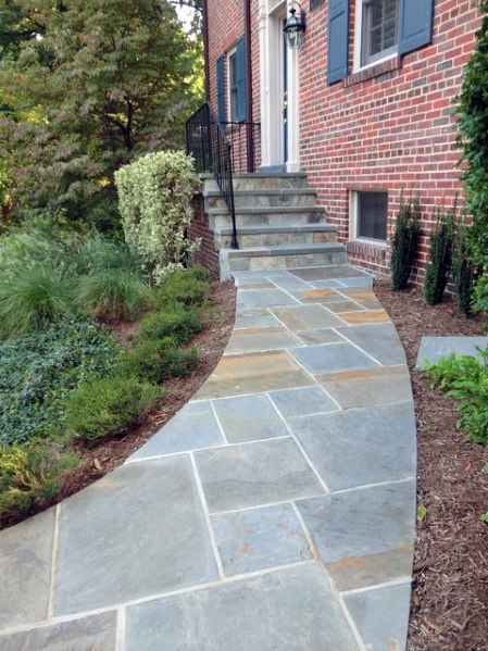 Front Yard Design Ideas For Flagstone Walkway